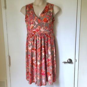 Ann Taylor Taupe/Peach Full Skirt Faux Wrap Dress